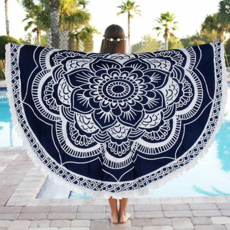 1PC Round Beach Pool Home Shower Towel Blanket Table Cloth Yoga Mat 150cm Janu 18