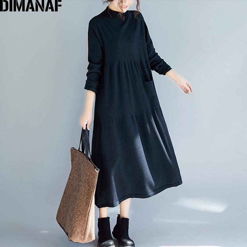 DIMANAF Women Long Dresses Knitting Cotton Winter Turtleneck Ladies Elegant Vestidos Sweater Plus Size Female Pleated Loose 2018