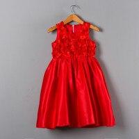 Hoge Kwaliteit China Geïmporteerde Kleding 1-6 t Kids Baby Meisjes Mouwloze Mint Patchwork Party Wear Rose Patroon Meisjes rode Satijnen Jurk