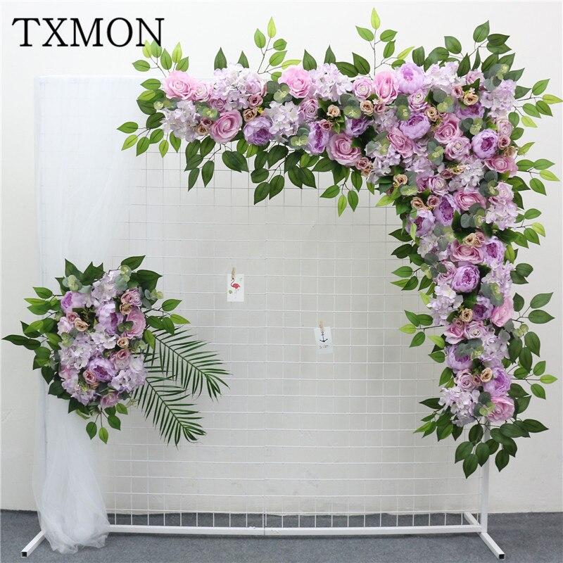 High end Custom made New arch rose hydrangea flor artificial peônia flor fileira casa casamento decoração flor chumbo estrada casamento
