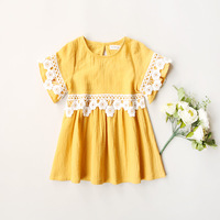 Everweekend Girls Lace Sleeve Ruffles Cotton Summer Dress Yellow Color Sweet Children Western Fashion Party Dresses