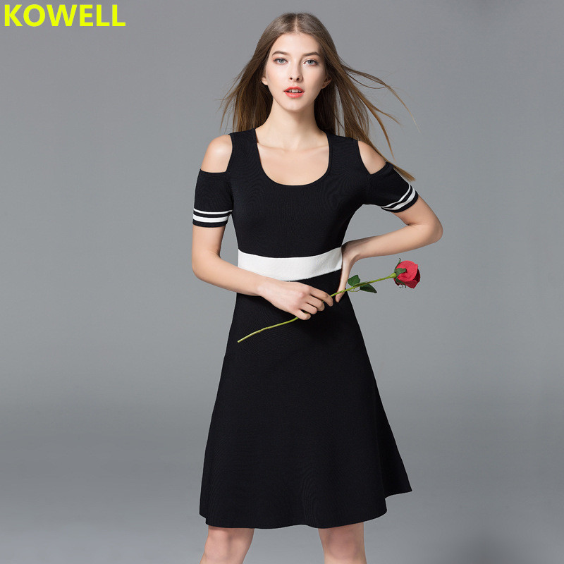 2018 Summer Clothes For Women Sweater Dress Strip Contrast Color Casual O-Neck Female Knitted Short Sleeve Bodycon A-Line Dress
