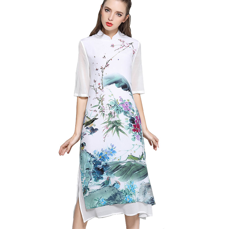05b8d860e1ed3 Summer Retro Cheongsam Dress Woman Loose Vintage Literature And Art ...