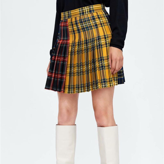 a2b396f82d0 Autumn Women Pleated Skirt Harajuku Style Plaid Skirts Mini Cute School  Uniforms Ladies High Waist Kawaii