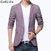 2017 Erkek Ekose Tasarımcısı Suits Blazer Pamuk Karışık Casual Kaban Slim Fit Erkek Giyim Yeni erkek Blazers Suit ceketler