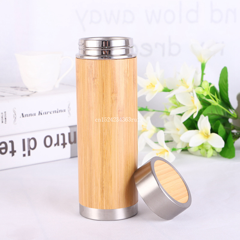 10pcs 450ML Bamboo Water Bottle Vacuum Insulated Coffee Travel Vacuum Cup With Tea Infuser Strainer Wooden