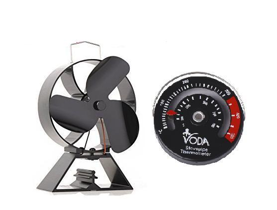 Free stove thermometer +Eco Friendly 3-Blade Heat Powered Stove Fan For Wood Log Burners free shipping cheap heat powered stove fan in black gold silver coppery blade