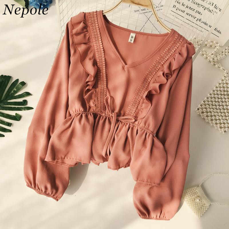 Neploe Drawstring Sash Ruffles Women Blouse V-Neck Lace Patchwork Vintage Blusa 2019 Spring Summer Solid Slim Fashion Tops Lady