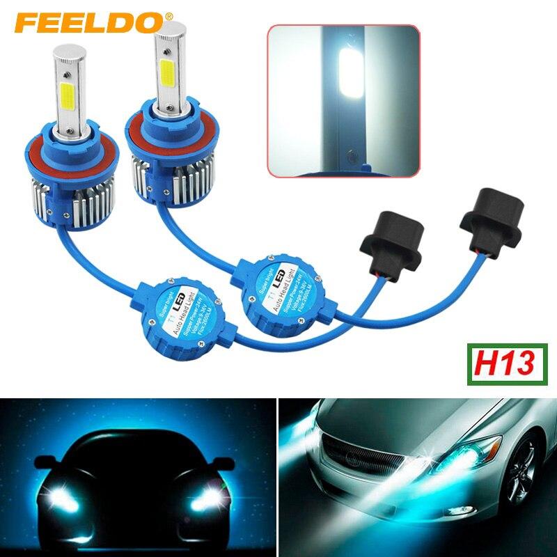 FEELDO 5Pair H13 Hi/Lo Led Headlight Kits 6000K 48W 5200LM Car LED Headlights COB Chips Fog Light Bulbs Bult-in Fan