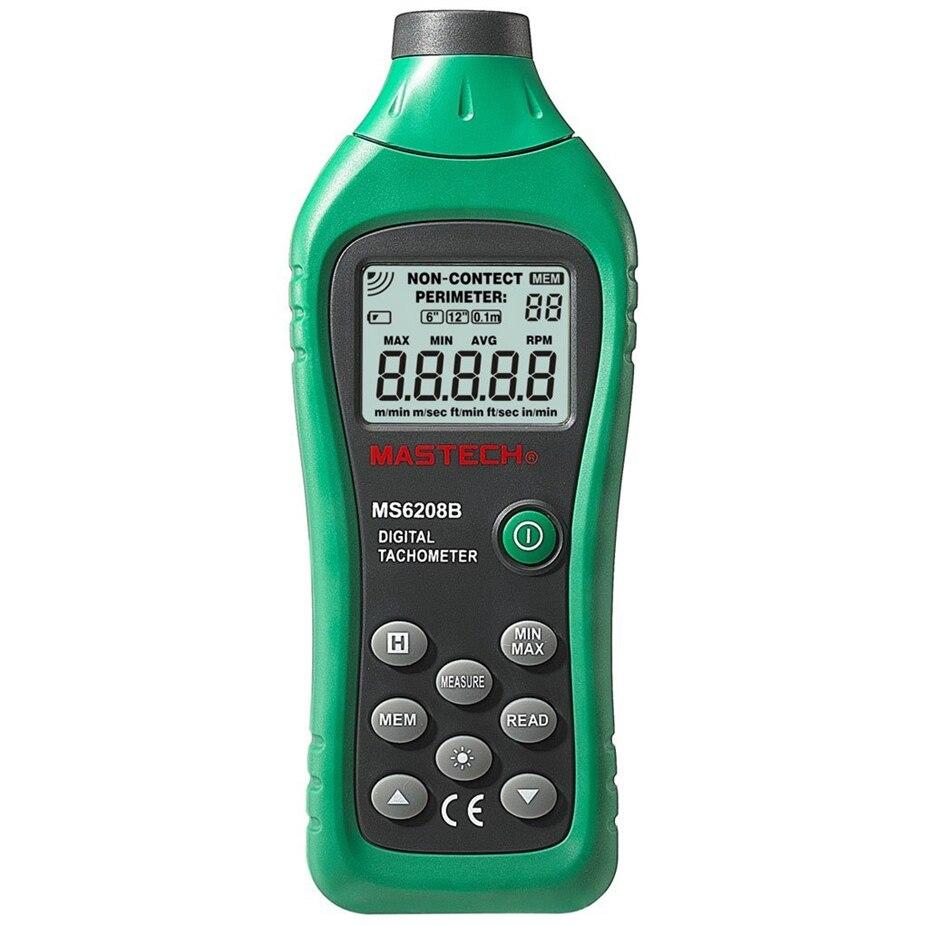 Sans Contact Tacometro vitesse de Rotation 50 tr/min-99999 tr/min stockage de données MASTECH MS6208B LCD numérique Laser Photo tachymètre RPM mètre