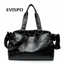 EVISPO New high quality PU leather men's travel bags fashion bucket handbags shoulder bag big volume men business luggage bag