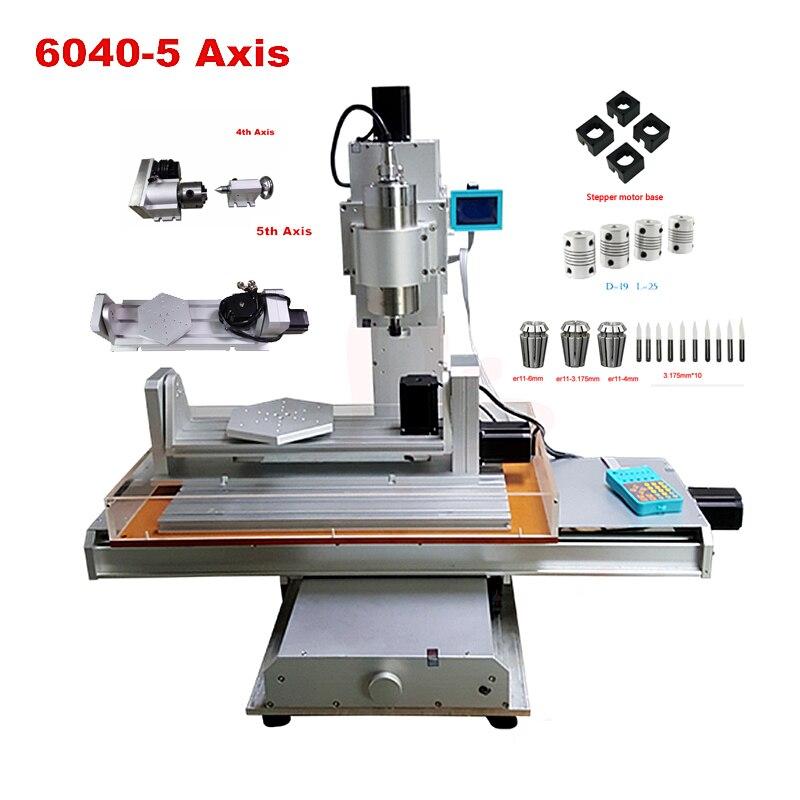 Máquina de grabado Vertical 6040 2.2KW CNC enrutador de madera 5 ejes con una máquina de tallado de madera eje B
