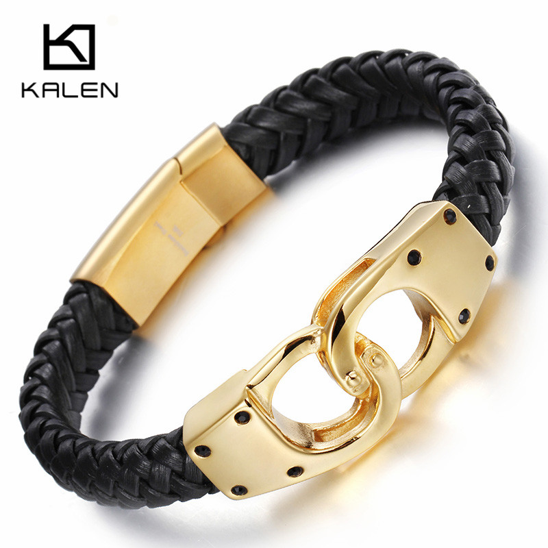 Kalen Italian Gold Color Handcuff Leather Bracelets For Men Fashion Stainless Steel 22CM Cheap Braided Leather Bracelets Jewelry