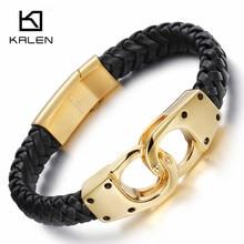 Kalen Итальянский Золотой Цвет наручники Кожаные браслеты для Для мужчин модные Нержавеющая сталь 22 см дешевые плетеные Кожаные браслеты ювелирные изделия