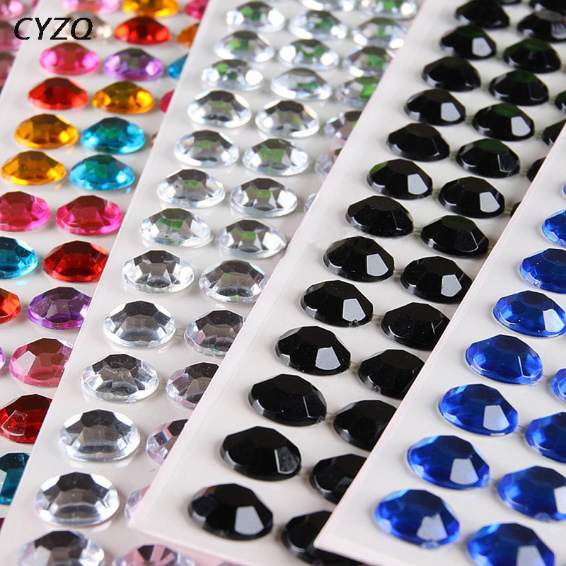 1 Sheet 3/4/5/6mm Self Adhesive Rhinestone Crystal Stickers Mobile Phone Car Decor DIY Craft Decals Scrapbooking Stickers