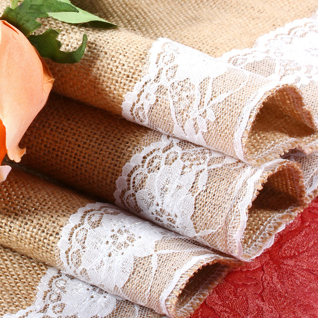 Burlap And Lace Table Runner Hessian 30x 245cm Elegant Christmas Runners 1pc