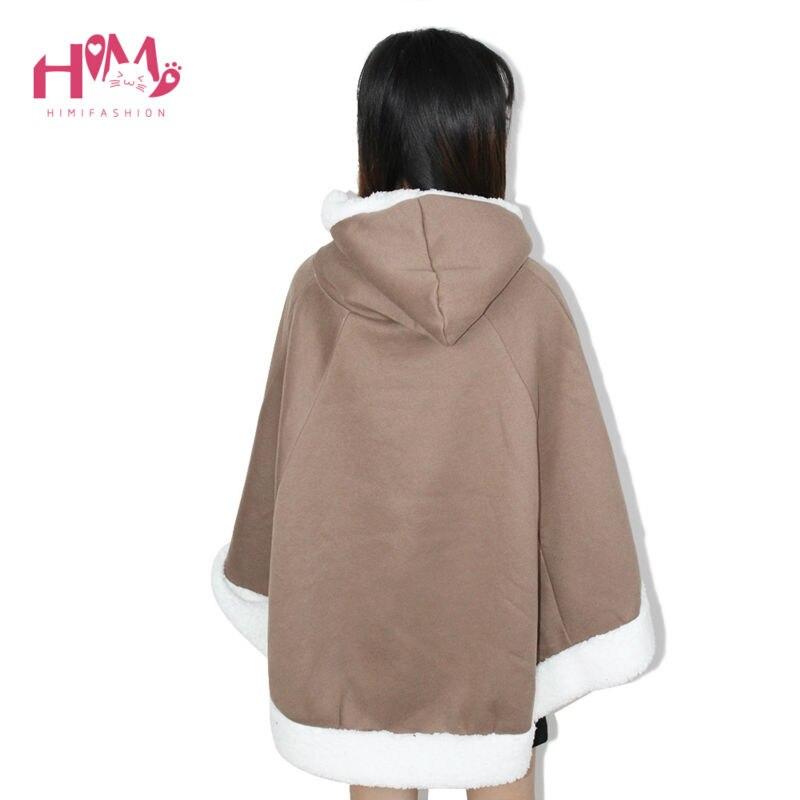 Christmas Hooded Cloak Winter cape Women Pink Unlined Upper Garment Sets Fleece Lovely Japanese Coat Blue  14