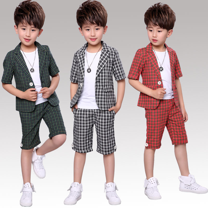 Boys Formal Plaid Suits Sets Children Summer Wedding Flower Boys Blazer Pants Outfits Kids Wedding Performance 2pcs CostumeBoys Formal Plaid Suits Sets Children Summer Wedding Flower Boys Blazer Pants Outfits Kids Wedding Performance 2pcs Costume