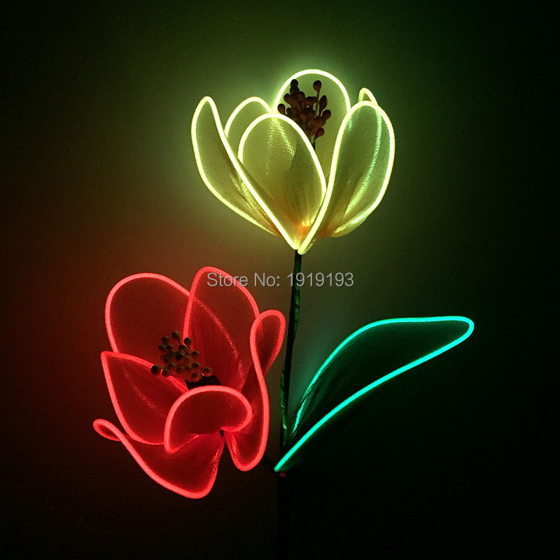 High-grade Turkey Favour Neon Blinking Twin Color Tulip DIY by EL wire Glittery Hana powered with DC-3V Driver as Birthday Gift