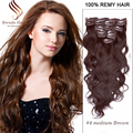7/10PCS Hot #4 Dark Brown Clip In Hair Extension Brazilian Body wave Clip Ins Hair Extension Remy Clip In Hair Extension70-220g
