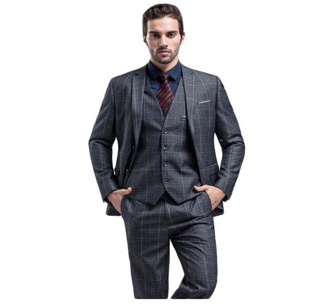 2017 High Quality Grey Plaid Groom Wear Tuxedos Wedding Suits ...