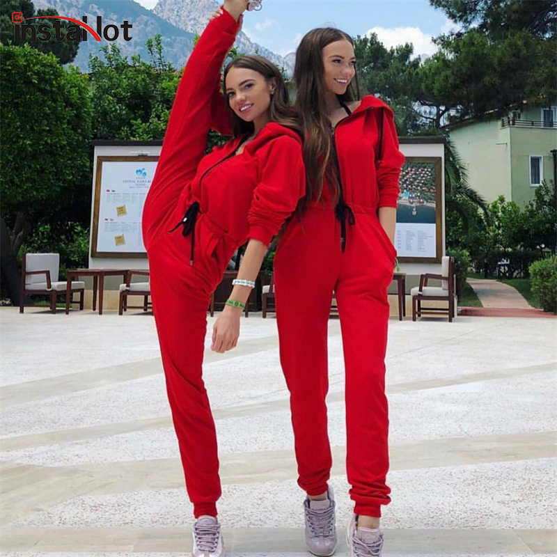InstaHot Red Zipper Hooded Jumpsuits Women Long Sleeve Autumn Zip Up Hoodies 2018 New Fashion Streetwear Loose Casual Winter