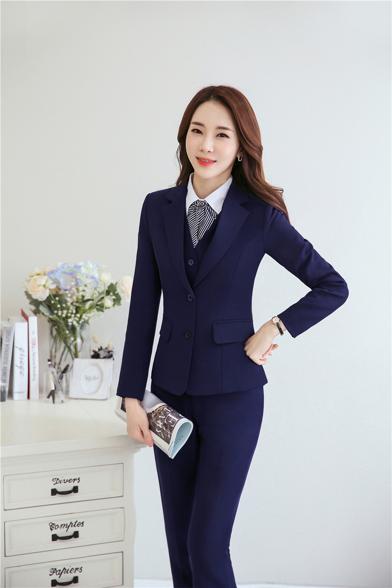 Formal Uniform Designs Blazers Set With Jackets + Pants For Ladies Business Office Work Wear Female Pantsuits Pants Suits