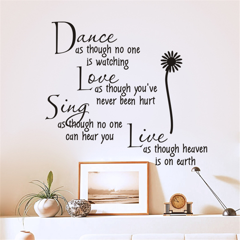 Modern Dance Love Sing Live Personality Wall Stickers Self Adhesive English Quotes Wallpaper Removable Living Room Decor Decals Wall Stickers Aliexpress