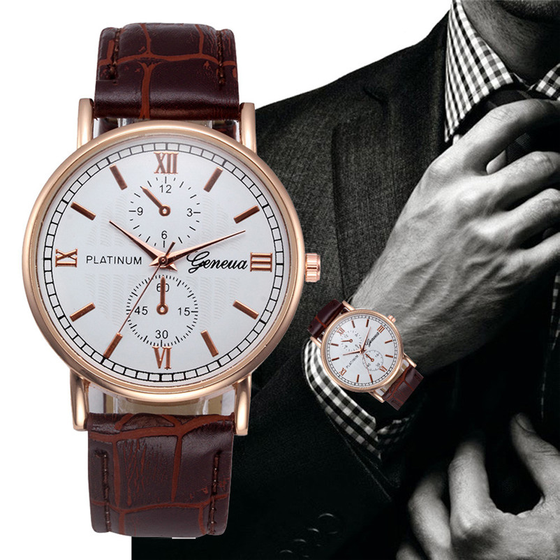 Fashion Male Wristwatch Leather Watchband Business Watches Life Waterproof Scratch-resistant Men Watch Clock #4M30#F