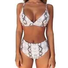 Купить с кэшбэком Sexy Snake Print Bikini 2019 Swimwear Women swimsuit female High Waist Bikini Push Up Set Leopard Swimming Bathing Suit women