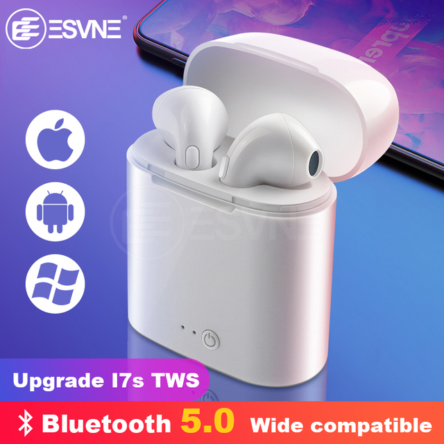 ESVNE i7s tws Wireless Bluetooth Earphone headset Stereo Earbud Earphones With Charging Box for Smart Phone bluetooth headphon