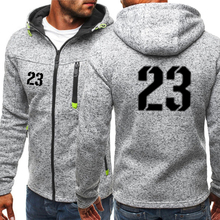 цена на Mens Lucky Number 23 Print Zipper Hoodie High Quality Sweatshirt Jacket