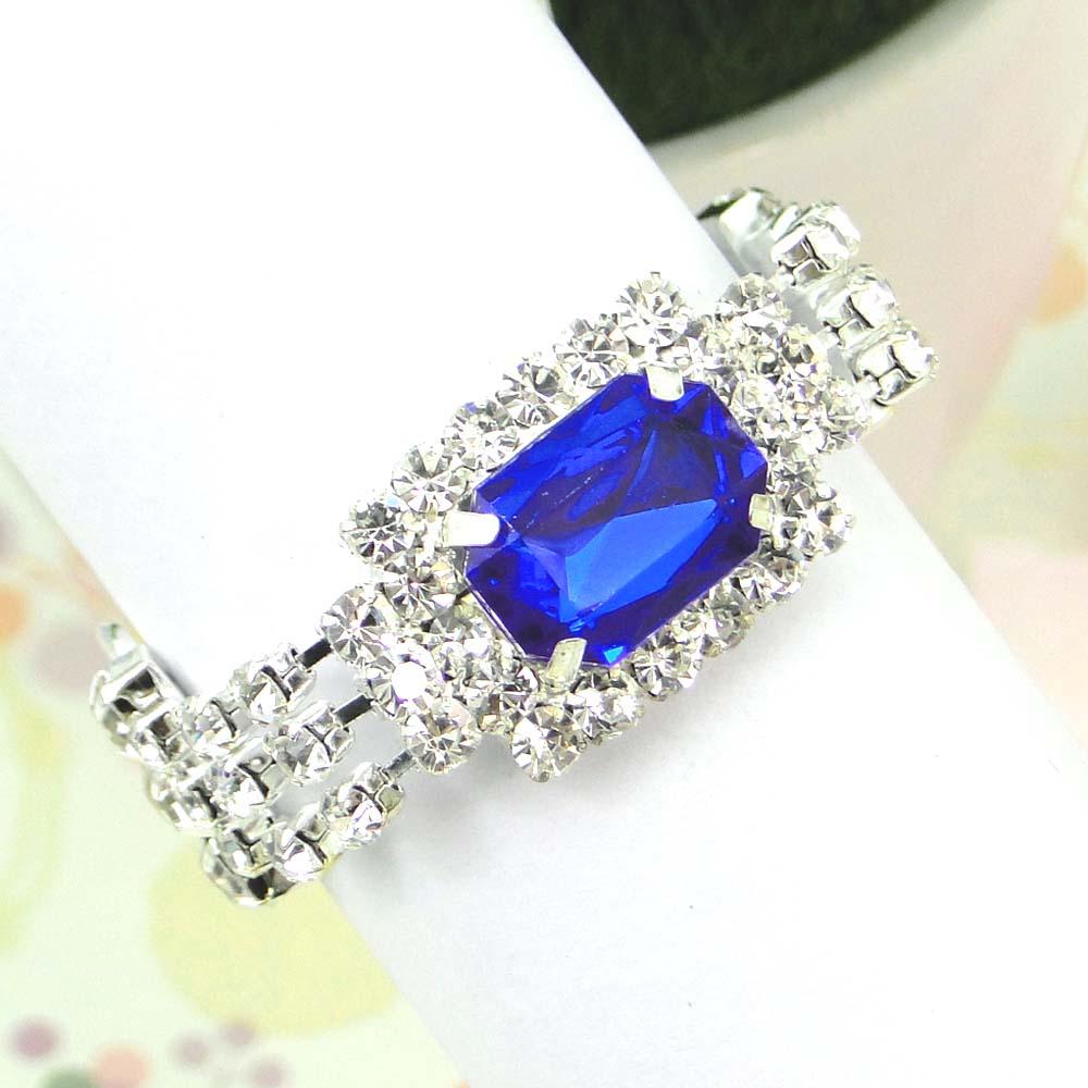 12pcs/lot Royal Blue color Wedding Banquet Dinner Decor Silver Hoops ...