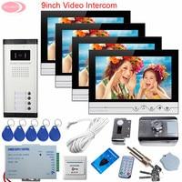4 Apartments Home Video Door Phone Intercom Rfid Unlock Electronic Lock 9Inch Video Door Phone Intercom