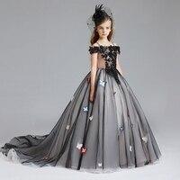 Бабочка платье принцессы с открытыми плечами для девочек черный платье пачка девочек Хеллоуин костюм дети бальное платье хвост костюм D108