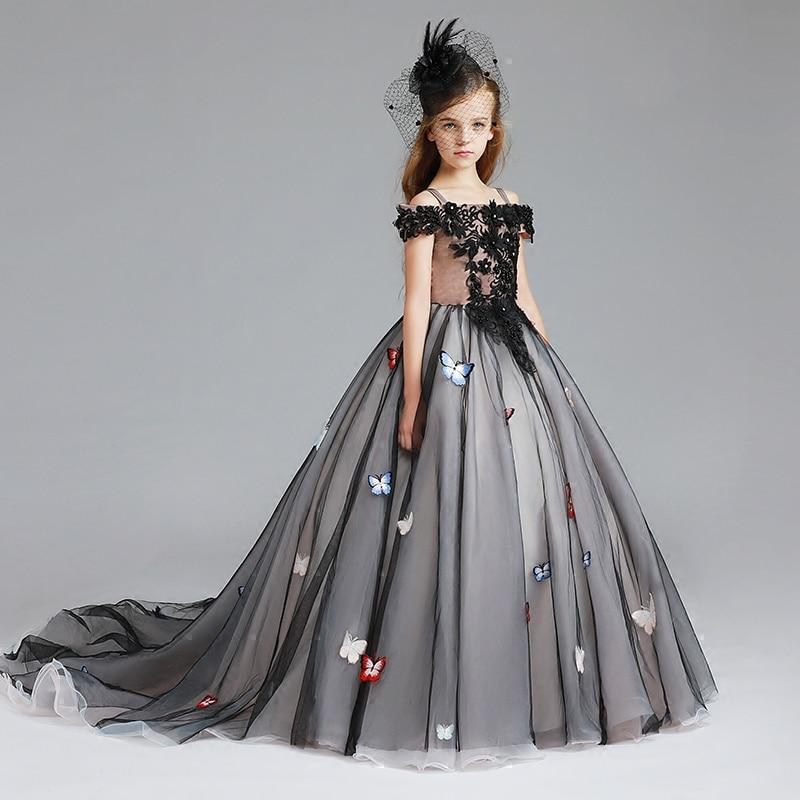 Butterfly Princess Dress Shoulderless Kids Girl Black Tutu Dresses Girls Halloween Costume Children Ball Gown Tail Costume D108 цены