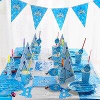 장식 냅킨 생일 파티 컵 아이 호의 왕자 테마 식탁보 아기 샤워 크라운 플레이트 용품 1