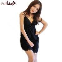 Fdfklak Lady Sexy Sleepwear 2017 Summer New Spaghetti Strap Lace Women's Nightgown Cotton Vintage Nightgowns Black/White Q456