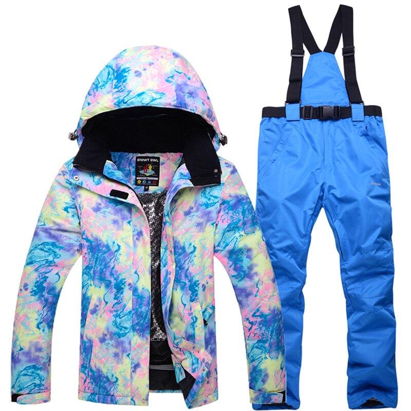 -30 degrés chaud pour les femmes Ski costumes veste et pantalon de Ski snowboard costumes de manteau imperméable coupe-vent Ski vêtements d'hiver