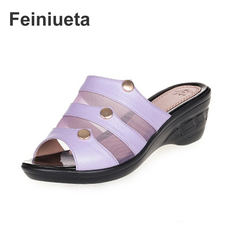 Feiniueta2018 Summer New Women Sandals Wedges Flat Sandals & Slippers Brand Fashion Sexy Ms. Sandals Mom Shoes plus size 35--43 new women sandals low heel wedges summer casual single shoes woman sandal fashion soft sandals free shipping