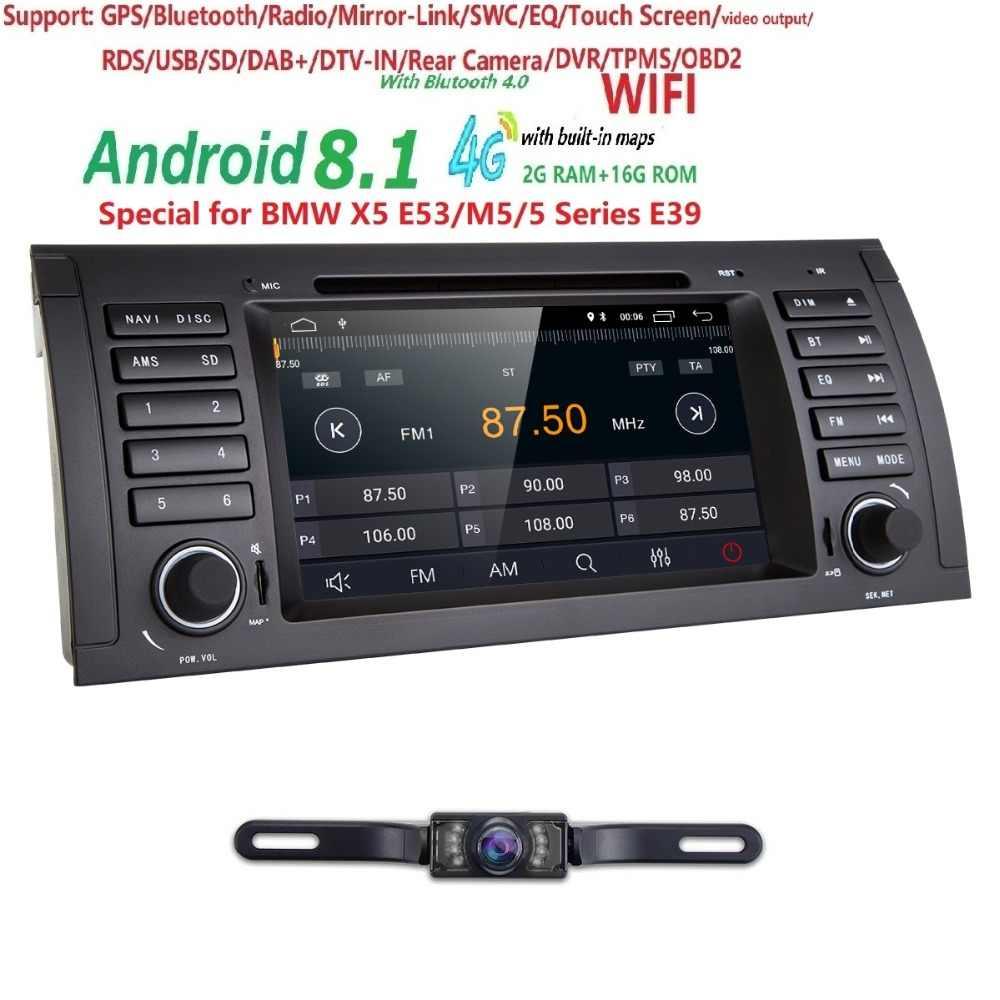 Hizpo Android 8,1 ips автомобильный DVD плеер радио gps для BMW 5 серия E39 1996-2001 17PIN 2002-2003 40 PIN WI-FI Bluetooth 2 Гб + 16 ГБ, 1080 P
