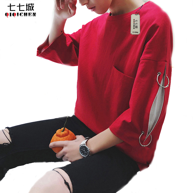 Fashion Street Wear Tshirt Men Oversize Swag T Shirt Super Longline Sleeve T-Shirt With Curve Hem Men Streetwear Tee Shirt 2018 red longline sleeveless check shirt with split hem