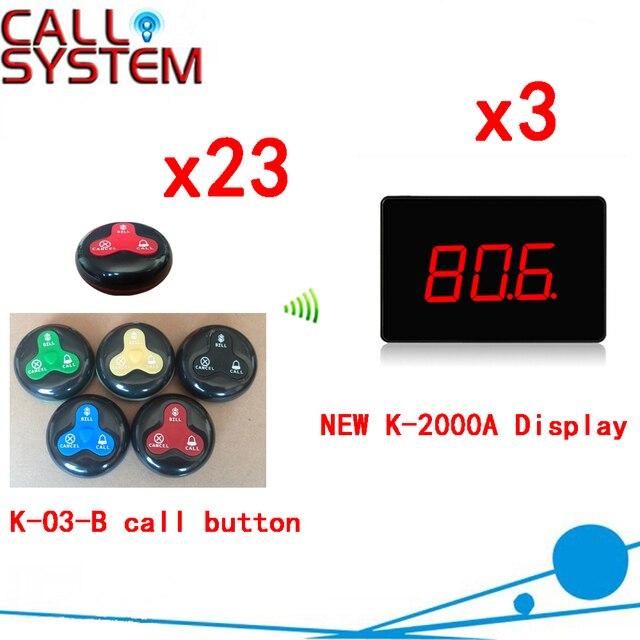 Беспроводная Система Подкачки Новые Марка Дисплей С 3 клавиши Вызова Кнопка CE Прошло 433.92 МГЦ (3 дисплей + 23 кнопка вызова)