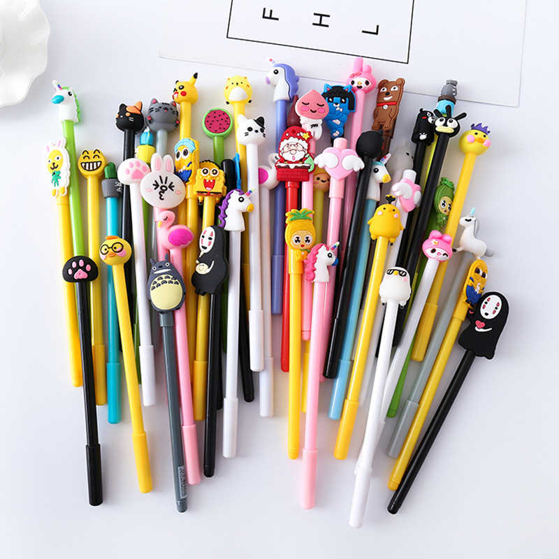 1 Piece Korea Stationery Cute Cartoon Kawaii Cat Japanese Gel Pen School Supply Office Handles Gift  Cute Stationary Pen