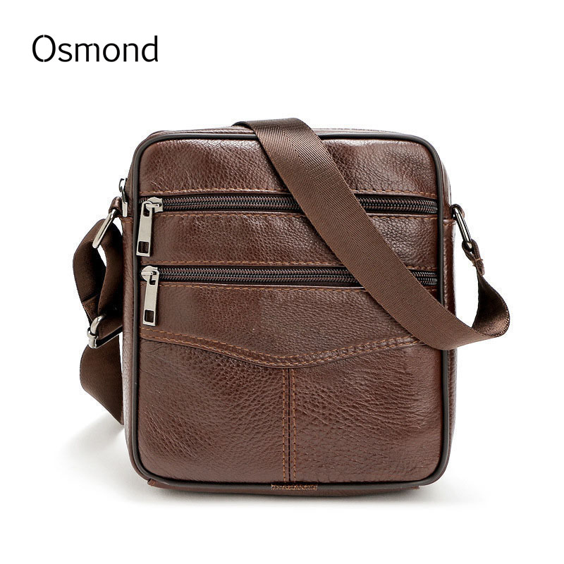 Подробнее о Osmond Men Crossbody Bags Cowhide Leather Small Shoulder Messenger Bag Retro Vintage Style Male Zipper Simle Coffee Bolsa top genuine cowhide leather men bags male small messenger bag fashion crossbody shoulder bag men s vintage travel new bag bolsa