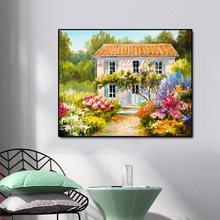 House and Flowers Famous Oil Painting Wall Art Poster Print Canvas Calligraphy Decor Picture for Living Room Home