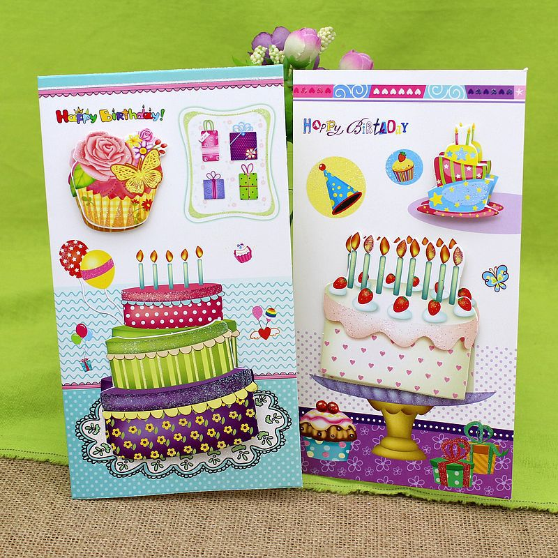 16 Pieceslot3d Stereo Cake Handmade Birthday Greeting Card With