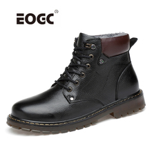 Genuine Leather Lace Up Men Boots Handmade Plus Size Men Shoes Warm Winter Ankle Snow Boots Dropshipping недорого