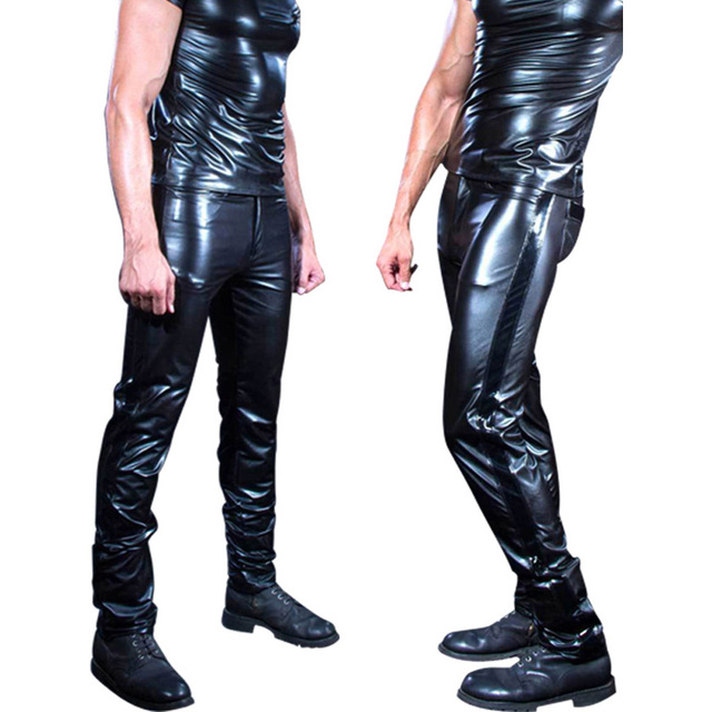 Sexy Plus Size Men's Wear PVC Shiny Pencil Pants Faux Leather Tight PU Glossy Punk Stage Pencil Pants Gay Erotic Fetish Pants