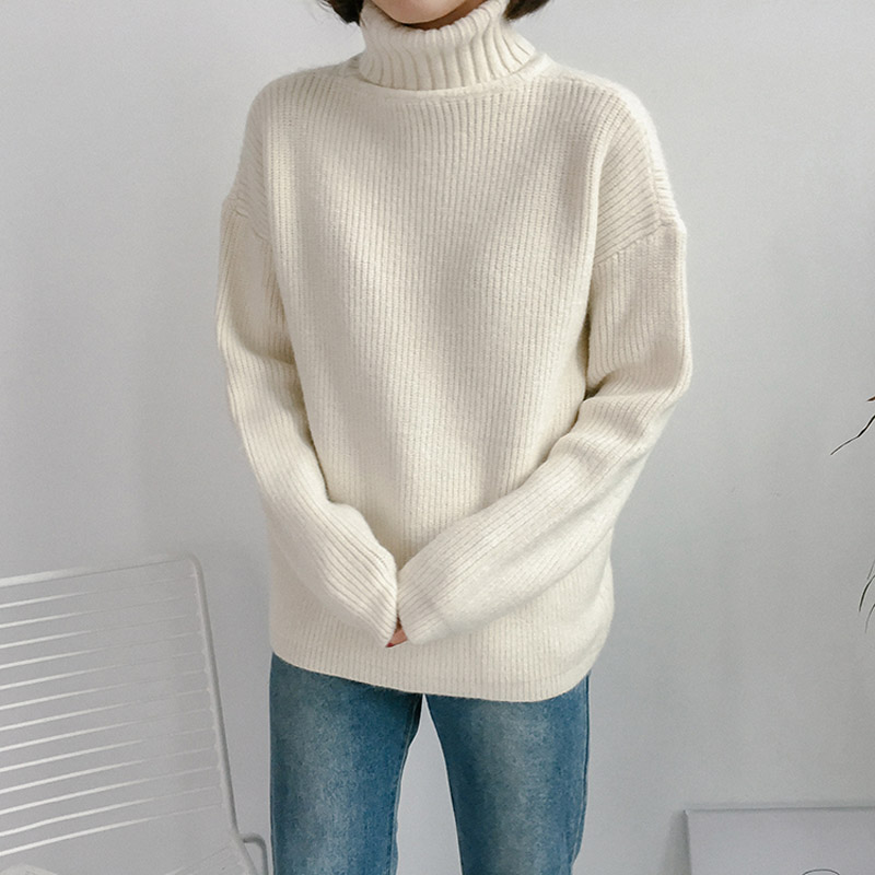 Korean New Autumn Winter Turtleneck Long Sleeve Knitted Sweater Women  Casual All-match Basic Sweaters 8b4bad2d1